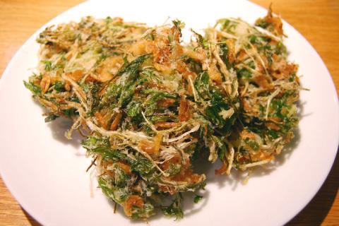 水菜と桜えびのかき揚げ