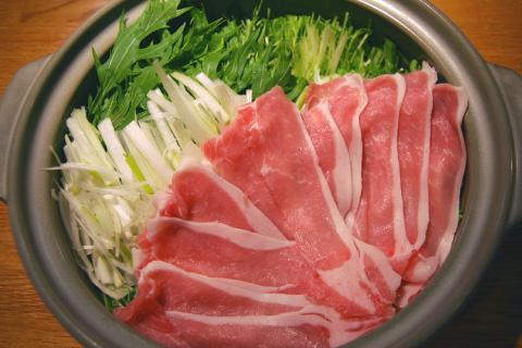 水菜と豚肉のしゃぶしゃぶ鍋